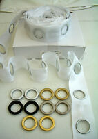 Curtain Eyelet Tape  Snap on  Rings 8 colourways  .26p each - min. 4 rings only