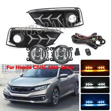 DRL LED Daytime Running Light Fog Lamps w/ Wiring Kit For Honda Civic 2019-2020