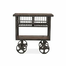 "36.5"" L Industrial Utility Cart Table Reclaimed Teak Wood Recycled Cast Iron"