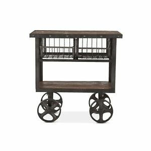 """36.5"""" L Industrial Utility Cart Table Reclaimed Teak Wood Recycled Cast Iron"""