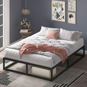 Zinus Joseph QUEEN Bed Base Industrial Metal Frame 25.5cm with Timber Slats