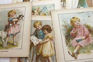 Antique Coloured Children's Book Plates, Illustrations to Frame - Vintage 1930s