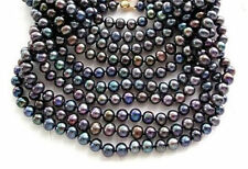 Stunning 9-10mm tahitian multicolor pearl necklace 48inch