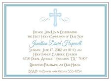 Baptism or Communion Invitations Blue Cross for a Boy