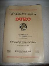 1929 DURO CO. OF BOSTON~WATER SYSTEMS CATALOG~WELL~PUMP