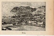 Stampa antica SUSA veduta panoramica TORINO miniatura 1905 Old print