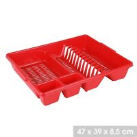 Plastic Large Dish Drainer Plate And Cutlery Rack Holder Kitchen Sink Tidy Red