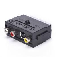 21 Pins SCART Male Plug To 3 RCA Female AV TV Audio Video Adaptor Converter s!