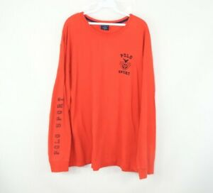 Vintage 90s Polo Sport Mens XL Spell Out Crest Logo Long Sleeve T Shirt Orange
