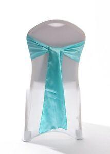 100 Aqua Green Satin Chair Cover Wedding sash UK
