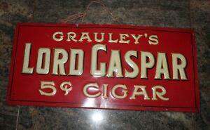 Original Vintage Grauleys Lord Casper Cigar Tin Sign Rare