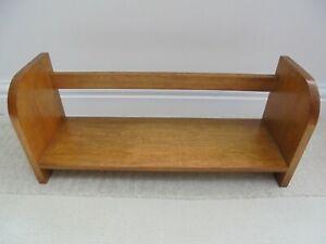 Vintage wooden book trough, mid century 1960s, teak shelf display
