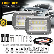 2x 4 INCH 252W LED FLOOD LIGHT BAR OFF ROAD 4WD DRIVING WORK 12V 24V FOG OSRAM