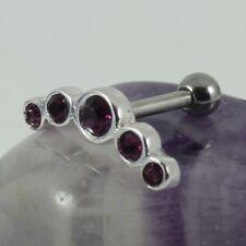 Helix Ear Cartilage Bar Piercing 925 Sterling Silver Amethyst Crystal 1.2 x 6mm