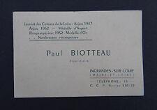 Carte de visite AU CUL DU TONNEAU Ingrandes Paul BIOTTEAU vin Loire visit card