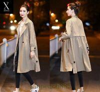 Women's Spring Casual Loose Fit Lapel Trench Coat Windbreaker Long Jacket Khaki
