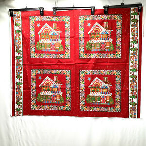 Vtg Cranston Gingerbread House Christmas Cotton fabric for 4 PILLOWS Tree Toys
