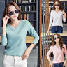 Womens Ladies Casual Long Sleeve Tops Shirt V Neck Cotton Tshirt Blouse Tee Top