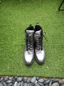 AND/OR LADIES METALLIC PEWTER LEATHER LACE UP ANKLE BOOTS SIZE 39