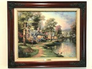 Thomas Kinkade Hometown Lake Canvas Certificate Authenticity Reproduction Classi
