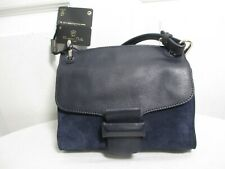 MASSIMO DUTTI CONTRASTING CROSSBODY BAG NAVY BLUE LEATHER/SUEDE