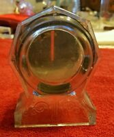 VINTAGE ♡ CLEAR GLASS MANTEL CLOCK ♡ CANDY CONTAINER BANK ♡ JEANNETTE PA