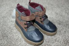 Carter's Navy Brown Gray Duck Boots Toddler Boys Shoes Size 8 3T 4T Winter NWT