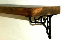 Rustic Solid Wood Mantel Floating Shelf With Cast Iron Wall/Shelf Brackets