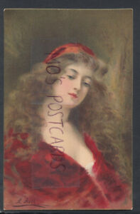 Glamour Postcard - Glamorous Lady - Beatrice - Painting By Artist A.Asti RS17307