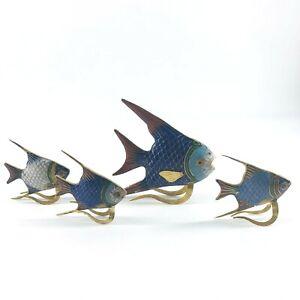 Vtg School of 4 Cloisonné Gold Tone Enameled Multi Color Angel Fish Marine Life