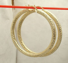 "4mm X 50mm 2"" Full Diamond Cut Hoop Earrings Real 10K Yellow Gold FREE SHIPPING"