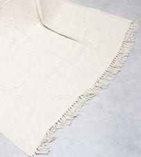 """French White / Light Cream Throw Rug Blanket 100% Cotton 152 x 228cm (60x90"""")"""