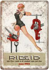 "1953 Ridgid Pipe Vise Workshop Tools - 10"" x 7"" Retro Look Metal Sign"