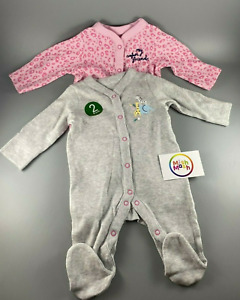 NEW baby girls EX mothercare 2pack pink grey safari friends babygrows sleepsuits