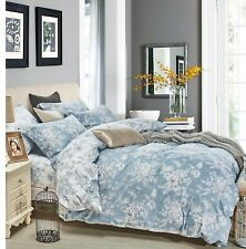Marianna 100% Cotton 3 Pieces blue white floral king Reversible Comforter Set