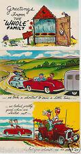 Outhouse Automobiles Travel Cartoon Comic Humor Vintage  (3) PCs Rare