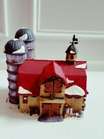 Hearthland Valley Christmas Village Lighted 2001 Limited Edition Farmhouse Silos