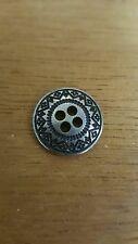 12 Piece Antique Silver Nickel Sew Through 4-Hole Metal 3-D Buttons Aztec VTG