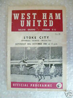 1965 WEST HAM UNITED v STOKE CITY, 30th Oct (League Division One)