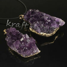 Gold Plated Natural Durzy Amethyst Clusters Healing Reiki Stone Pendant Jewelry