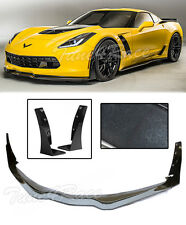 For 14-up corvette C7 Z06 Z07 Stage 3 ABS Painted Front Lip + Extension Winglets