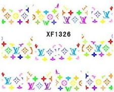 Nail Art Stickers Water Decals Transfers Multicoloured Flowers Letters (XF1326)