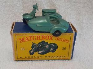 Matchbox no.36 Lambretta & sidecar (metallic green) - Original ExIB