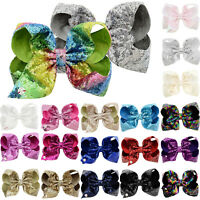 Children Girl's Hairpin JOJO SIWA 8 Inch Sequin Bow Rainbow Bowknot Hair Clips