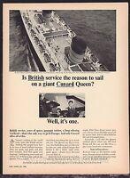 1965 CUNARD R.M.S. Queen Elizabeth CRUISE SHIP Ocean Liner Vintage Travel AD