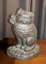 """ANTIQUE NATIONAL FOUNDRY 37 CAST IRON KITTY CAT W/ BOW NOT PAINTED DOORSTOP 7.5"""""""