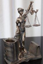 Justitia Figur Visitenkartenhalter 21cm Deko Göttin Recht Anwalt Bronze Jura