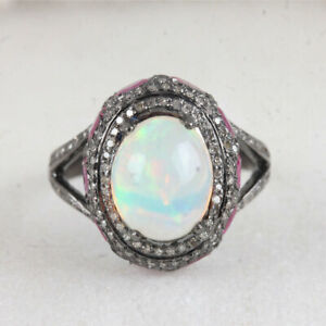 Ethiopian Opal 0.34ct Pave Diamond Cocktail Ring 925 Sterling Silver Jewelry
