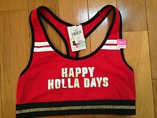 Victoria's Secret PINK Happy Holla Days Red Sports Bra Small AA-C NWT Women's