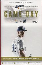 BRENT SUTER ON COVER MILWAUKEE BREWERS 2018 OFFICIAL GAMEDAY PROGRAM ISSUE #4